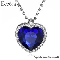 "Eccosa ""Deep Blue Ocean"" Fashion Necklace Heart Shaped Silver Plated Ladies Jewellery"