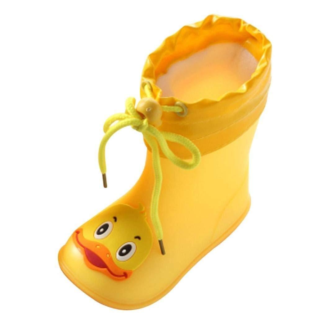 AutumnFall Kids' Rainboot,Kids' Waterproof Sneaker Cartoon Duck Rubber Rain Shoes Rainwear Shoe for Boys Girls (Age:2-2.5T, Yellow)