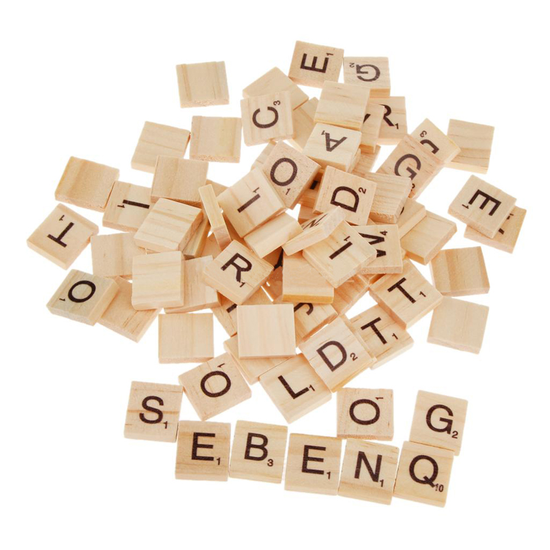 Wholesale educational toys wooden alphabet scrabble tiles black letters and numbers for crafts wood