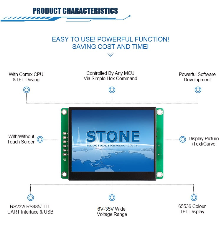 "STONE 3.5"" Touch Display Panel TFT LCD with Controller + Serial Interface + Program + Driver"