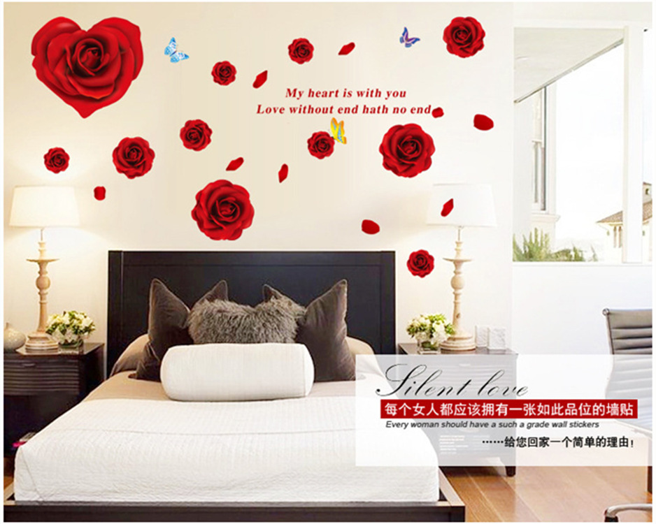 Romantic Roses Wall Stickers Home Decor Waterproof Removable Wall Decals Bedroom Living Room Warm Background Wallpaper
