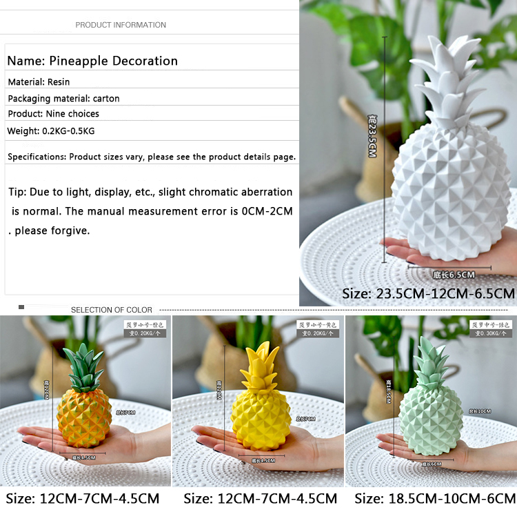 Desk art ornaments artificial resin pineapple for home decoration