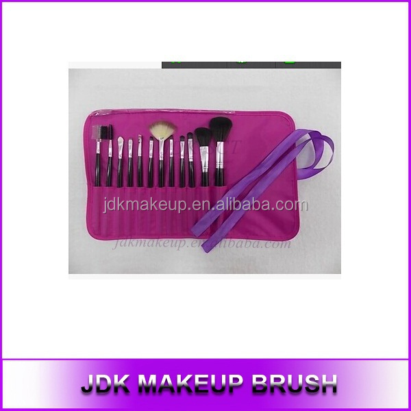 Hot Sale 12pcs Synthetic Hair Comsmetic Brush Set with Black Pink Wood Handle