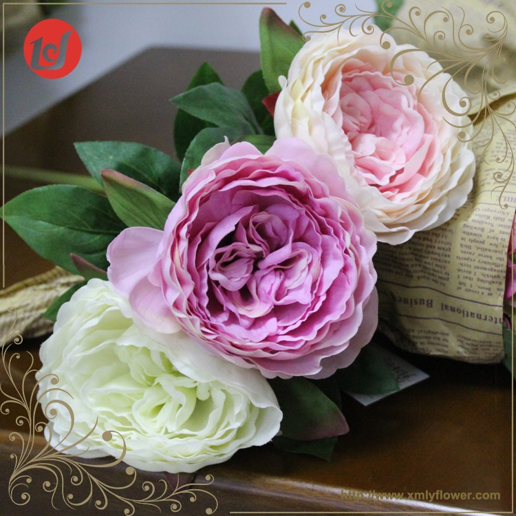 SFL6087 Marriage Party Decoration Real Touch Fake Silk Flowers Artificial Pink Faux Stem Peony Flower Paintings