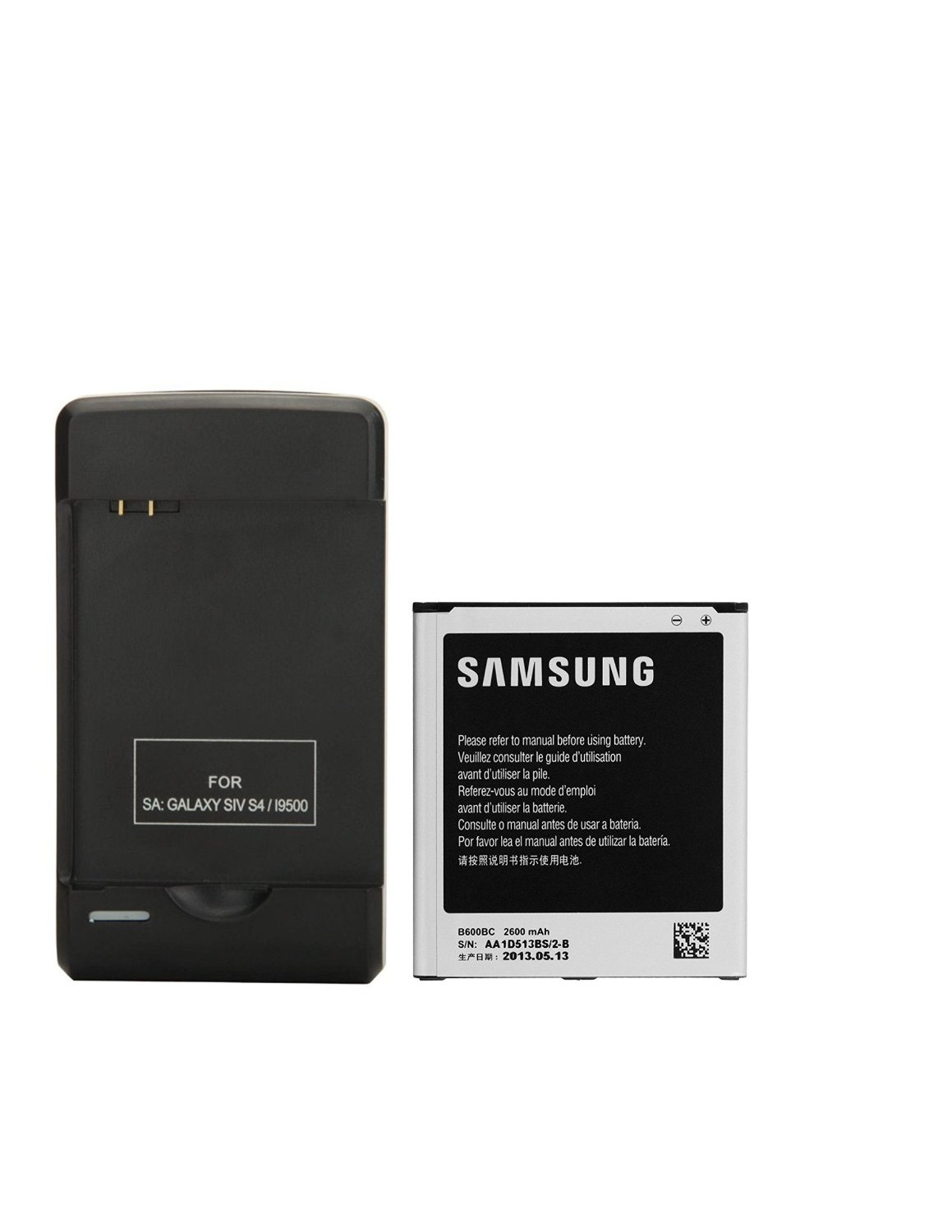 fourstarr deals USB dock wall charger + 2600mAh Li-ion rechargeable replacement battery for Samsung Galaxy S4 , GT-i9500 , GT-i9505 , SGH-M919(T-Mobile) , SCH-i545(Verizon) , SGH-i337(AT&T) , SPH-L720(Sprint), B600BC (one battery + one wall charger)