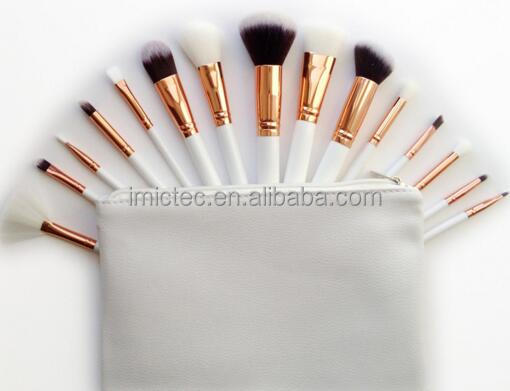 Rose gold makeup brush set high quality, White makeup brushes rose golden, White professional rose gold makeup brush set online