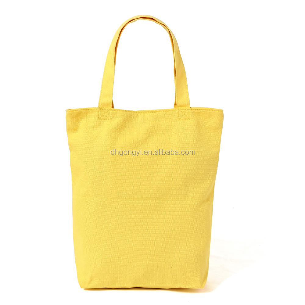 customized yellow canvas tote bag,printed logo,durable advertising promotional bags