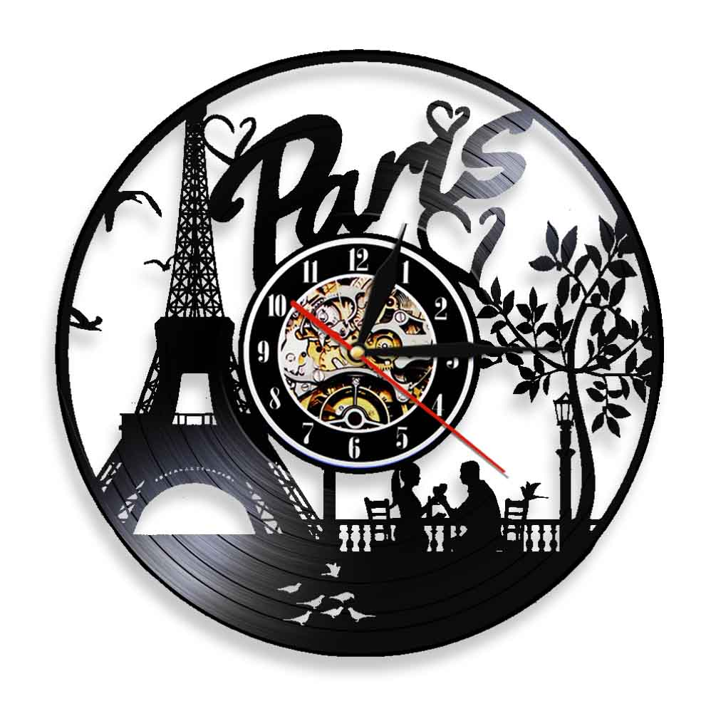 Cityscape Paris Eiffel Tower Art Decorative  Wall Clock Vinyl Record Vintage Antique Wall Clock Modern Design Decor