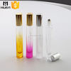 beautiful colored 10ml glass roll on bottle with stainless steel roll ball