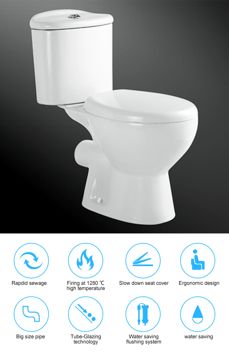 Ceramic flushing method water closet,two piece p-trap asian toilet