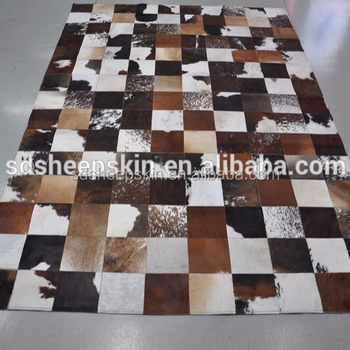 Nature Patchwork Cowhide Carpet Cow Hair On Leather Hide Floor Rug Skin Rugs Product