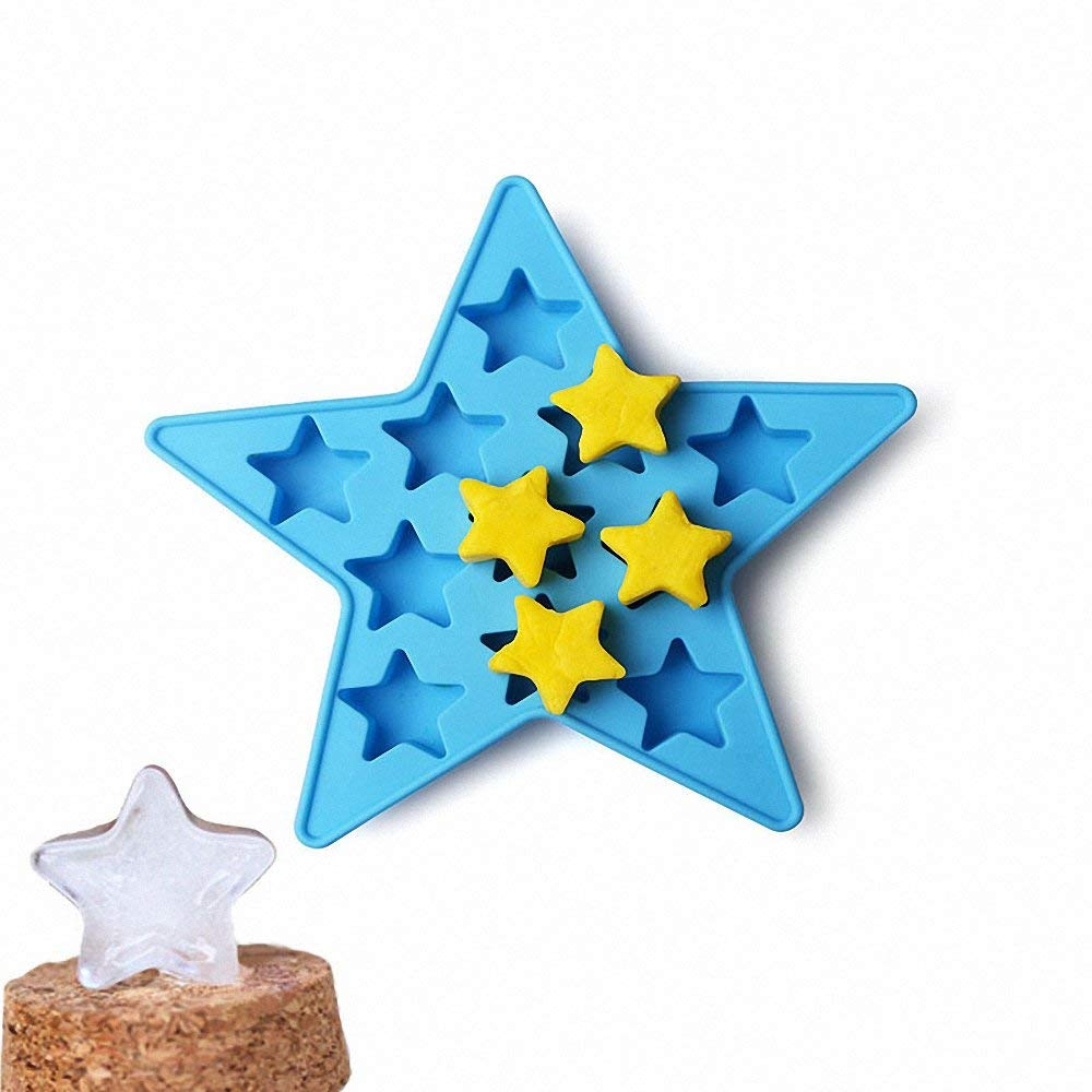 Star ice cube tray - MoldFun 11-cavity Five-pointed star pentagram Shape Silicone Mold for Ice Cubes, chocolates, candies, Resins