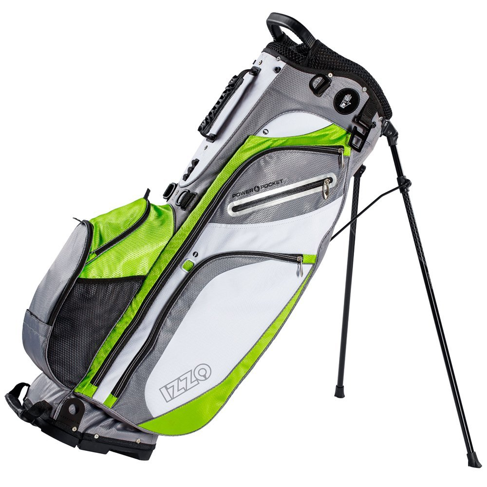 IZZO Versa Stand Golf Bag - Black, Red, Green or Blue - Golf Hybrid Stand Bag, Riding Hybrid Golf Stand Bag, Walking Hybrid Golf Stand Bag - Black, Red, Green and Blue Golf Stand Bag