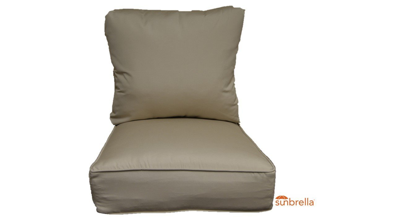 "Sunbrella Antique Beige Cushion Set for Indoor / Outdoor Deep Seat Furniture Chair - Choose Size (Seat Cushion 24""w X 27""d)"