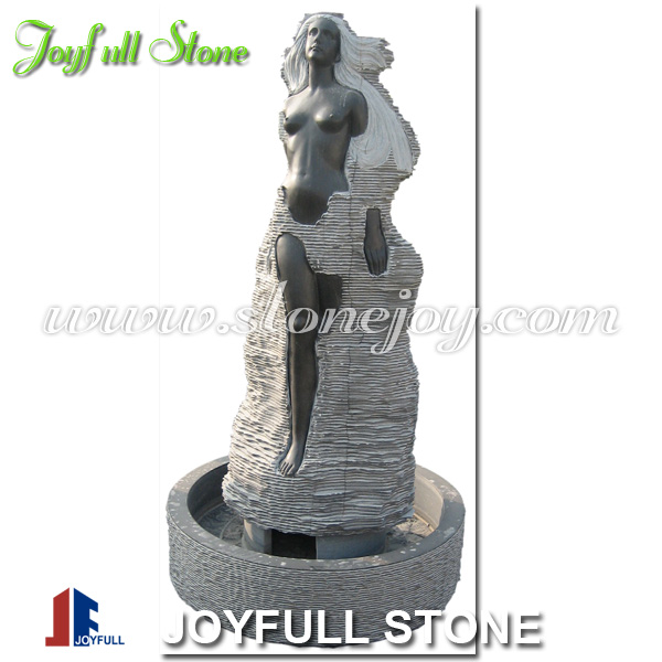 Stone Fountain Sculpture, Black marble water fountain, lady fountain