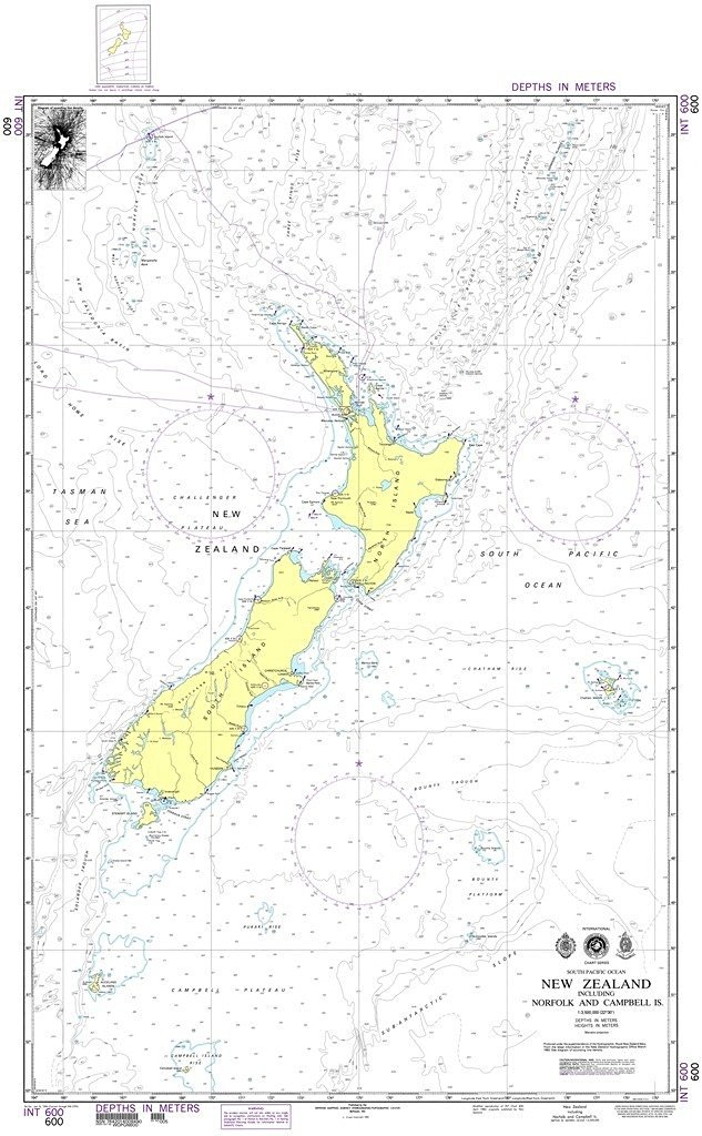 NGA Chart 600: New Zealand including Norfolk and Campbell Islands