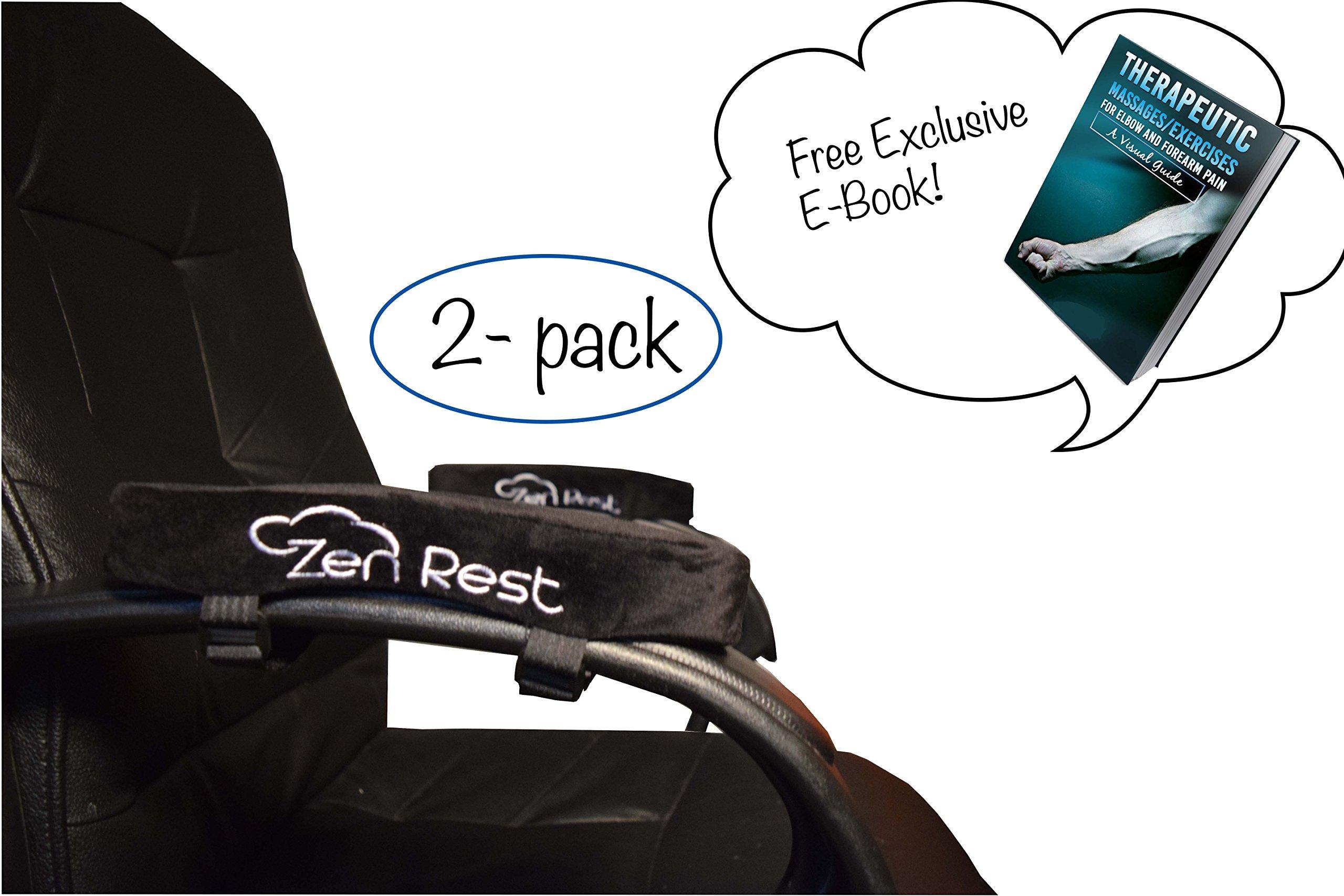 Zen Rest   Premium 50D Density Memory Foam   Armrest Cover Pad for Office Chair   2pcs   Extra Long Velcro Straps   Universal Fit  