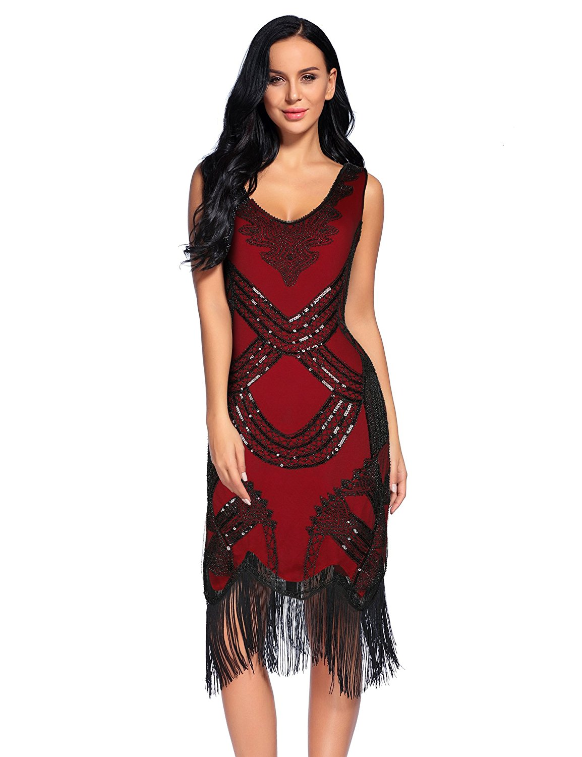 Get Quotations · Flapper Girl Women s 1920s Gatsby V Neck Sequin Beads  Fringed Cocktail Hem Flapper Dress 541fa992ac16