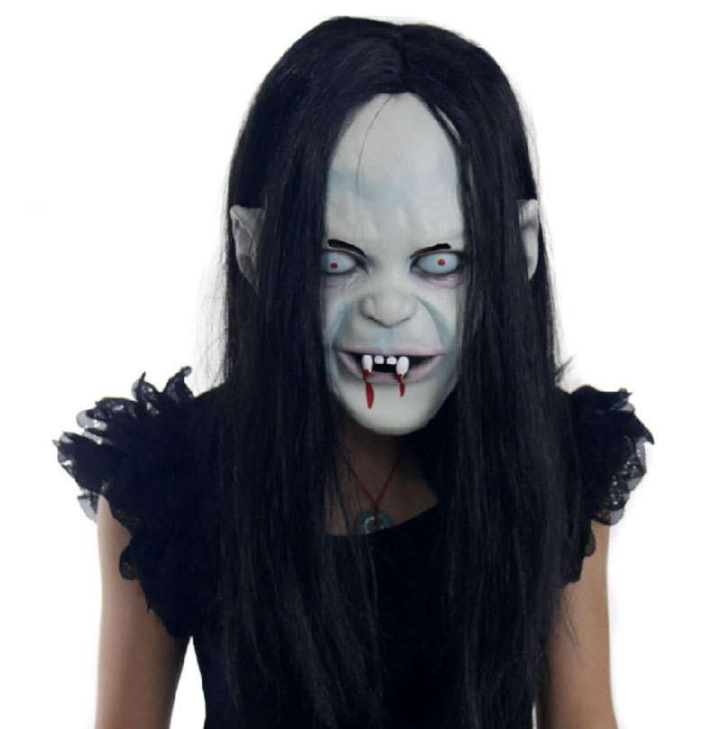 Get Quotations · Scary female ghost latex Mask Fits Halloween Toys Party  Fancy Dress Monster ghost mask Blooding Rubber
