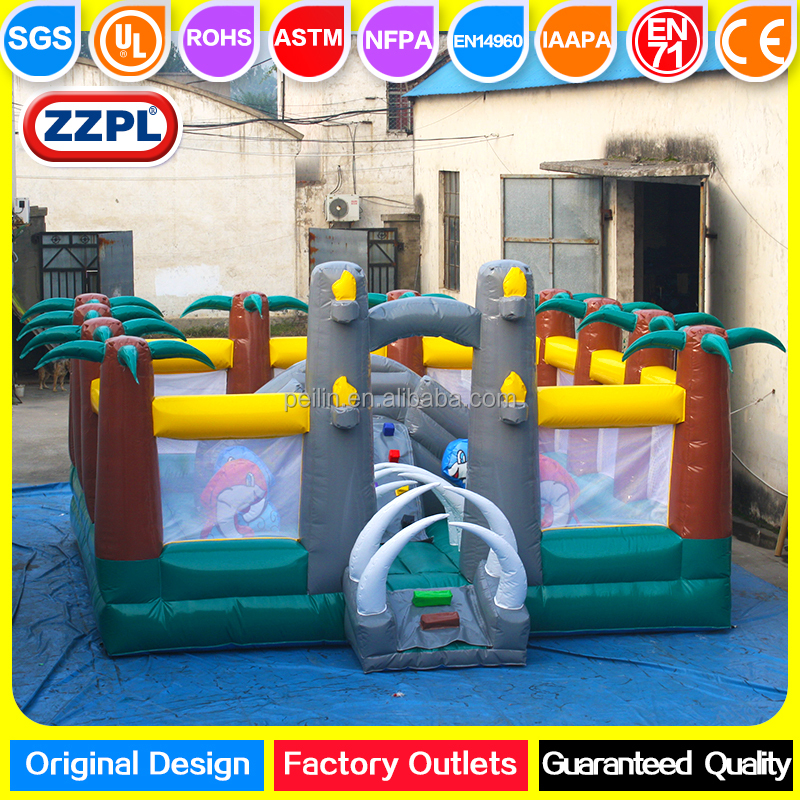 ZZPL customized middle size inflatable bouncing combo, kids bouncy castle slide