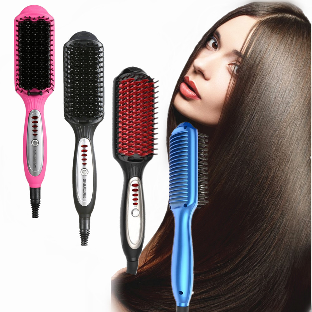 Low price ceramic tourmaline coated Lcd custom detangling fast electric hair brush straightener Comb hair straightening brush