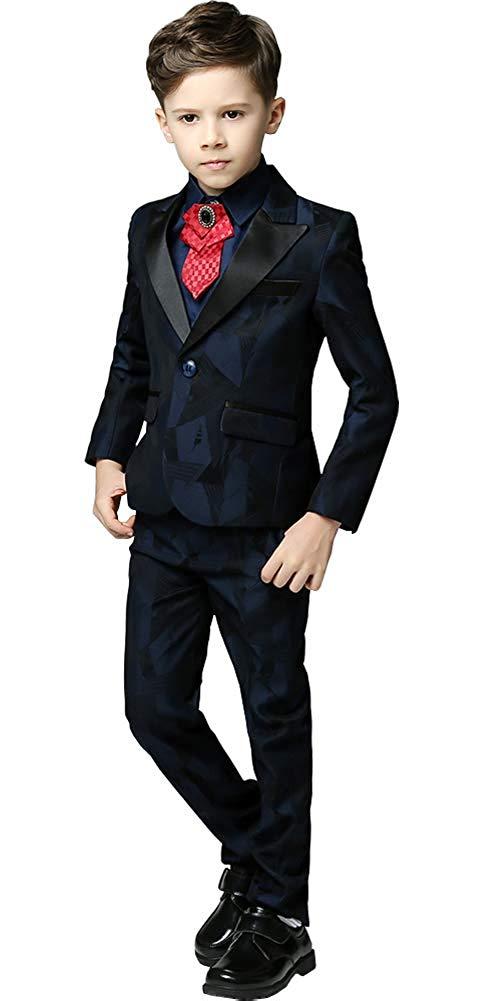 f28200017ad Get Quotations · Michealboy Boys Dress Suits 5 Piece Casual Dark Blue Blazer  Vest Pants Childrens Tuxedo Wedding