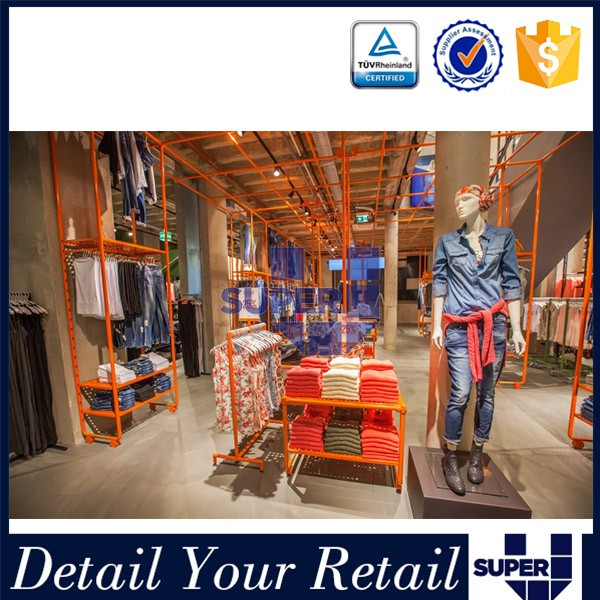 Design Shop Shelf In Super U Shop Fitting Cloth Display Racks ...