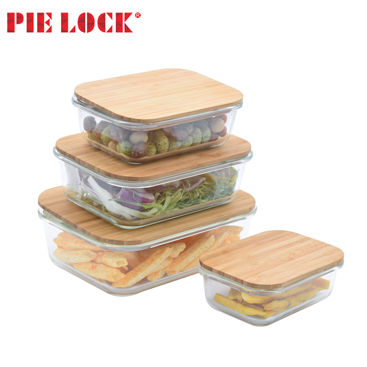 Heat Resistant Borosilicate glass Meal Prep Storage Lunch Box Glass Food Container with bamboo Lid