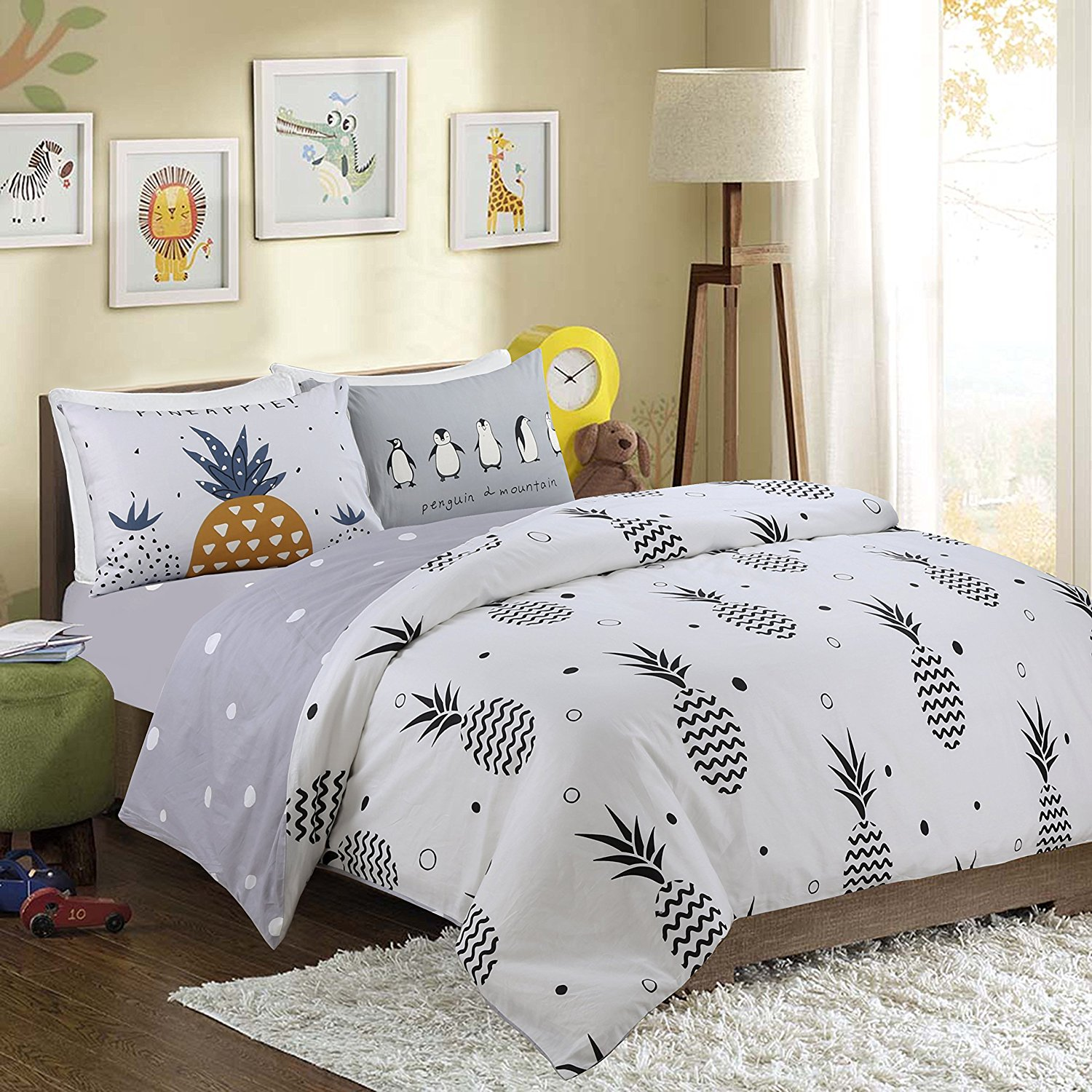 213f3f4f32 Get Quotations · HNNSI Girls Boys Pineapple Pattern Kids Bedding Duvet  Cover Sets QUEEN Size 4 Pieces, 100