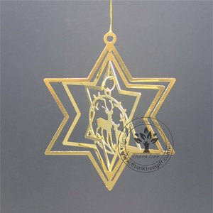 metal craft 3d metal Christmas ornament with an reindeer hanging