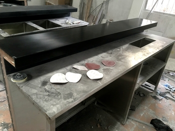 Modern Western Style Black Table Top Stainless Steel Base Commercial Bar Counter
