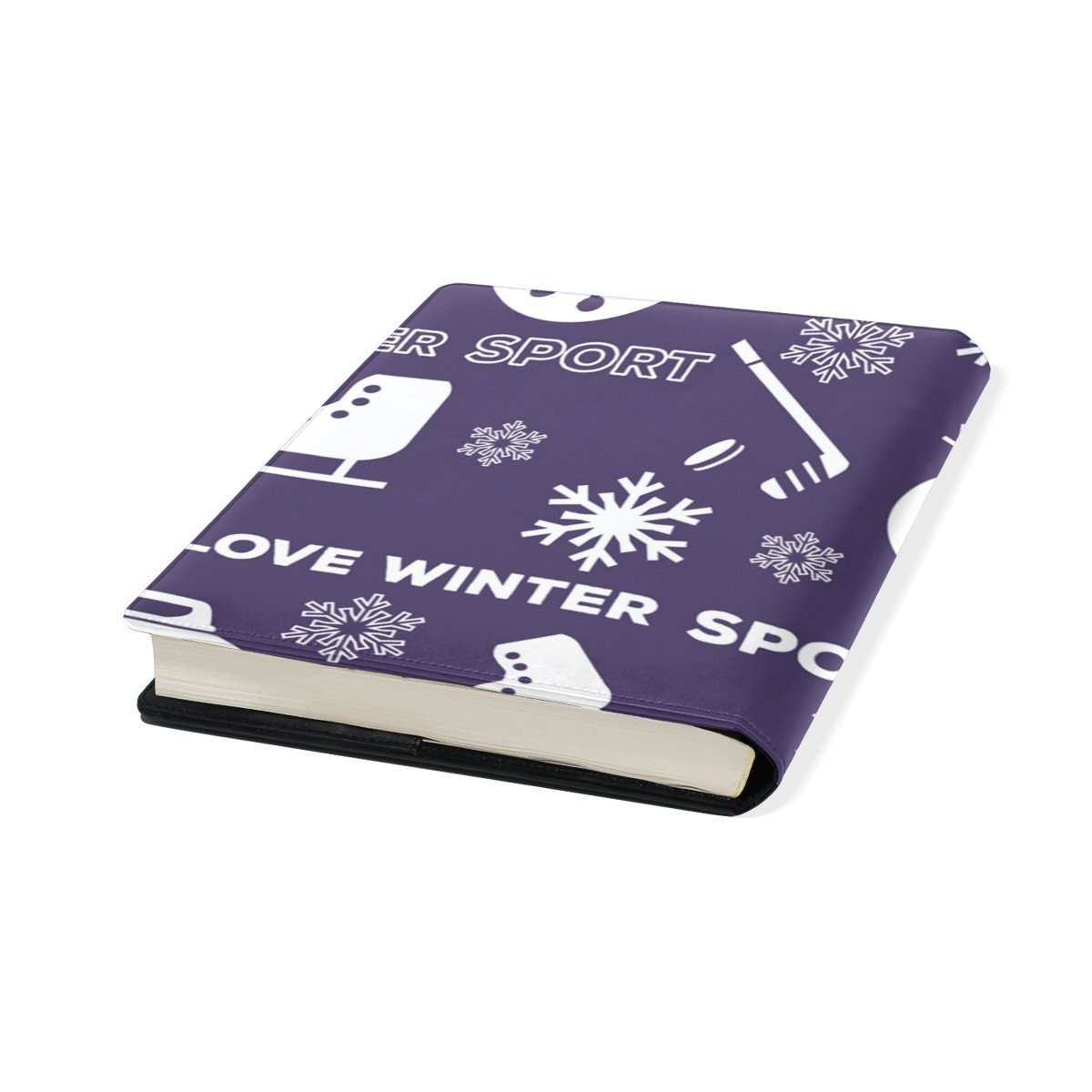 Sunlome Winter Sports Snowman Pattern Stretchable PU Leather Book Cover 9 x 11 Inches Fits for School Hardcover Textbooks