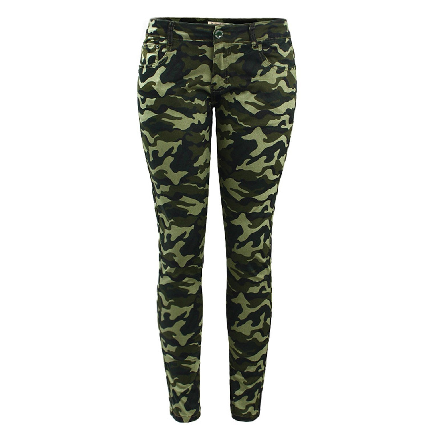 c3047f336e7e Get Quotations · Vilma Reynoso Plus Size Chic Army Green Skinny Jeans For Women  Camouflage Cropped Pencil Pants