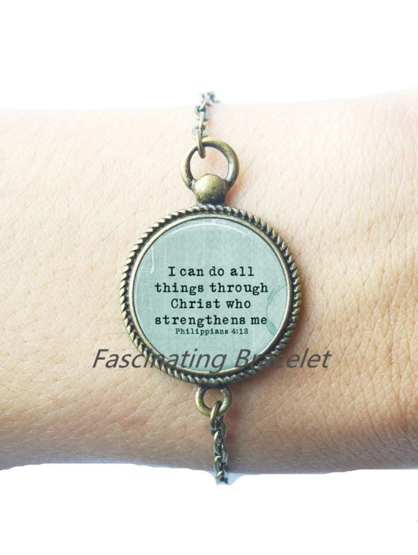 Fashion Bracelet,SCRIPTURE Bracelets Philippians 4:13 Scripture Jewelry Encouragement Bible Quote Bracelets Quote Jewelry Christian Bracelets Gift for Christian,AE0003
