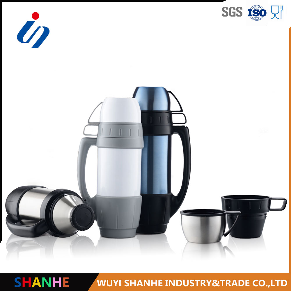 Promotional gift hot coffee stainless steel thermos flasks with a handle 1.0L
