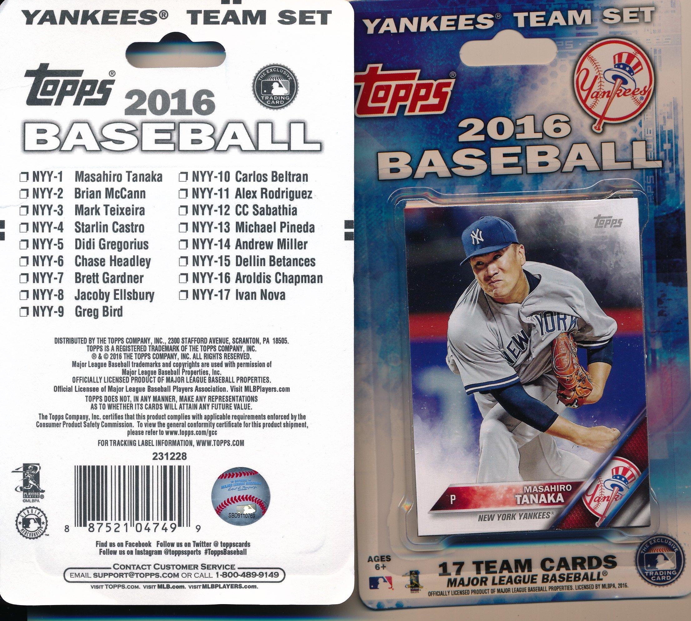 MLB New York Yankees 2016 Topps MLB Team Sets- New York Yankees, Blue, Small