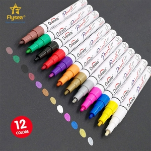 Hot selling 12 colored water based oil-based non-toxic ink paint snowman marker pen