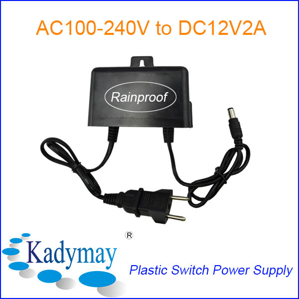 Low Cost Power Adaptor 12V, parts Rainproof Wide Voltage Input, with European&USA Plug for CCTV Camera