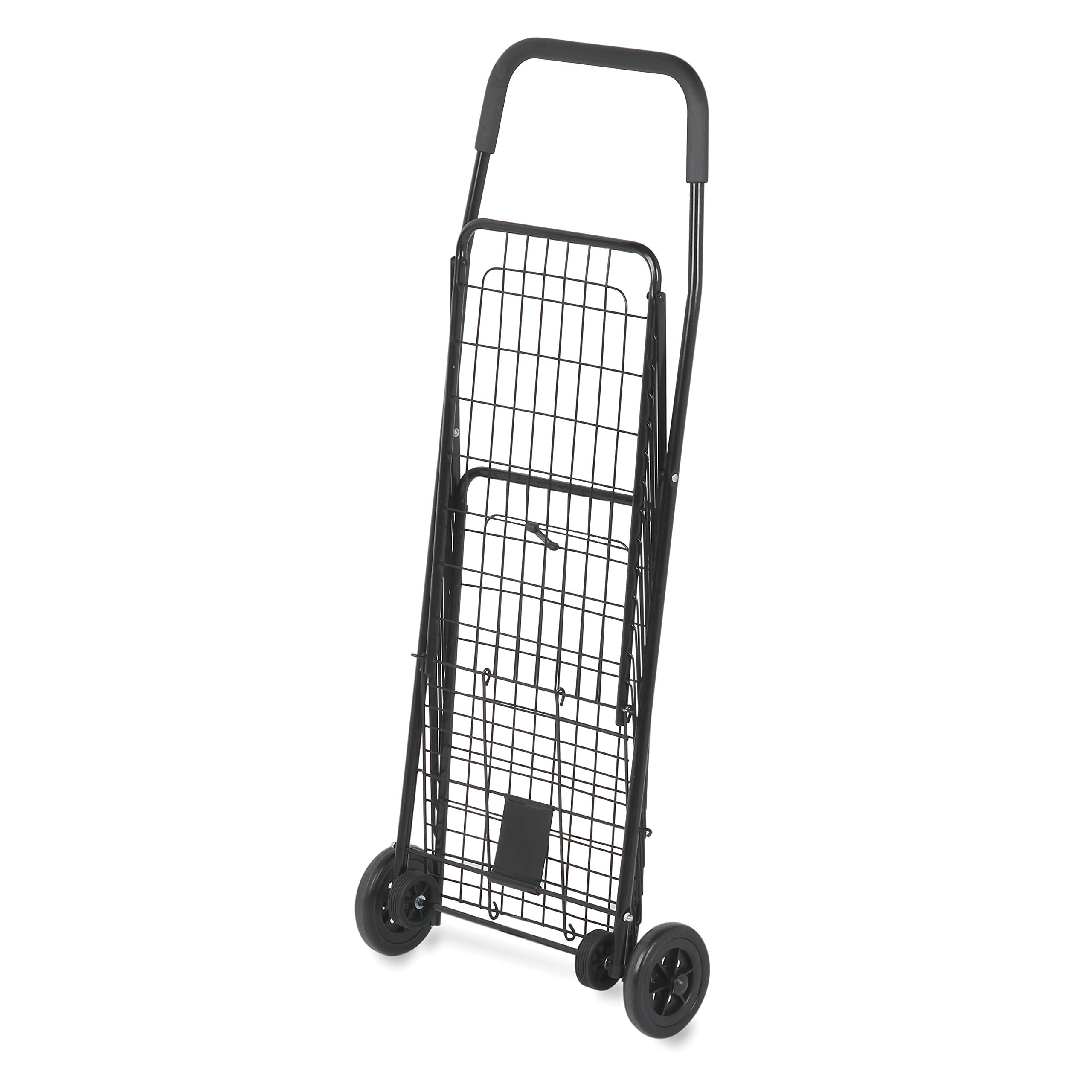 Honey-Can-Do CRT-01511 Medium Folding Shopping Cart Rolling 4-Wheel Utility Wagon, Black
