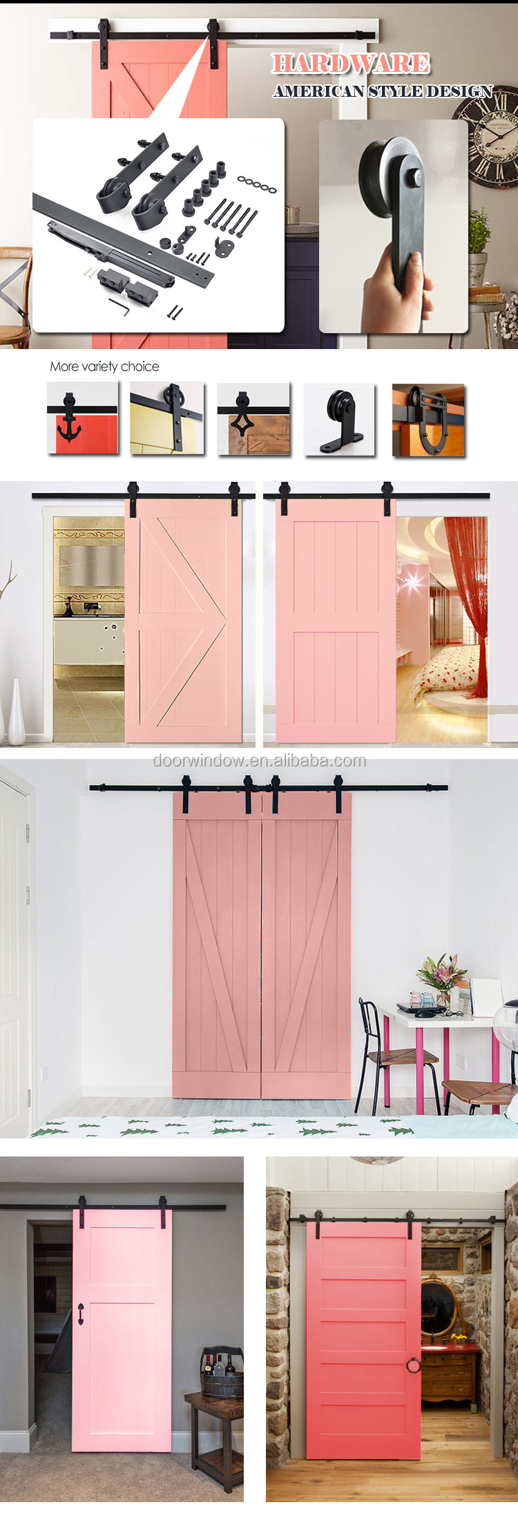 Fashion Design pink paint color pine larch cherry wood High Quality Wooden Fairy sliding barn Door