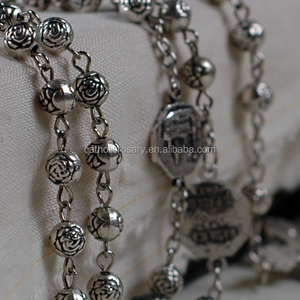 6mm antique black rose flower petal metal bead chain rosaries