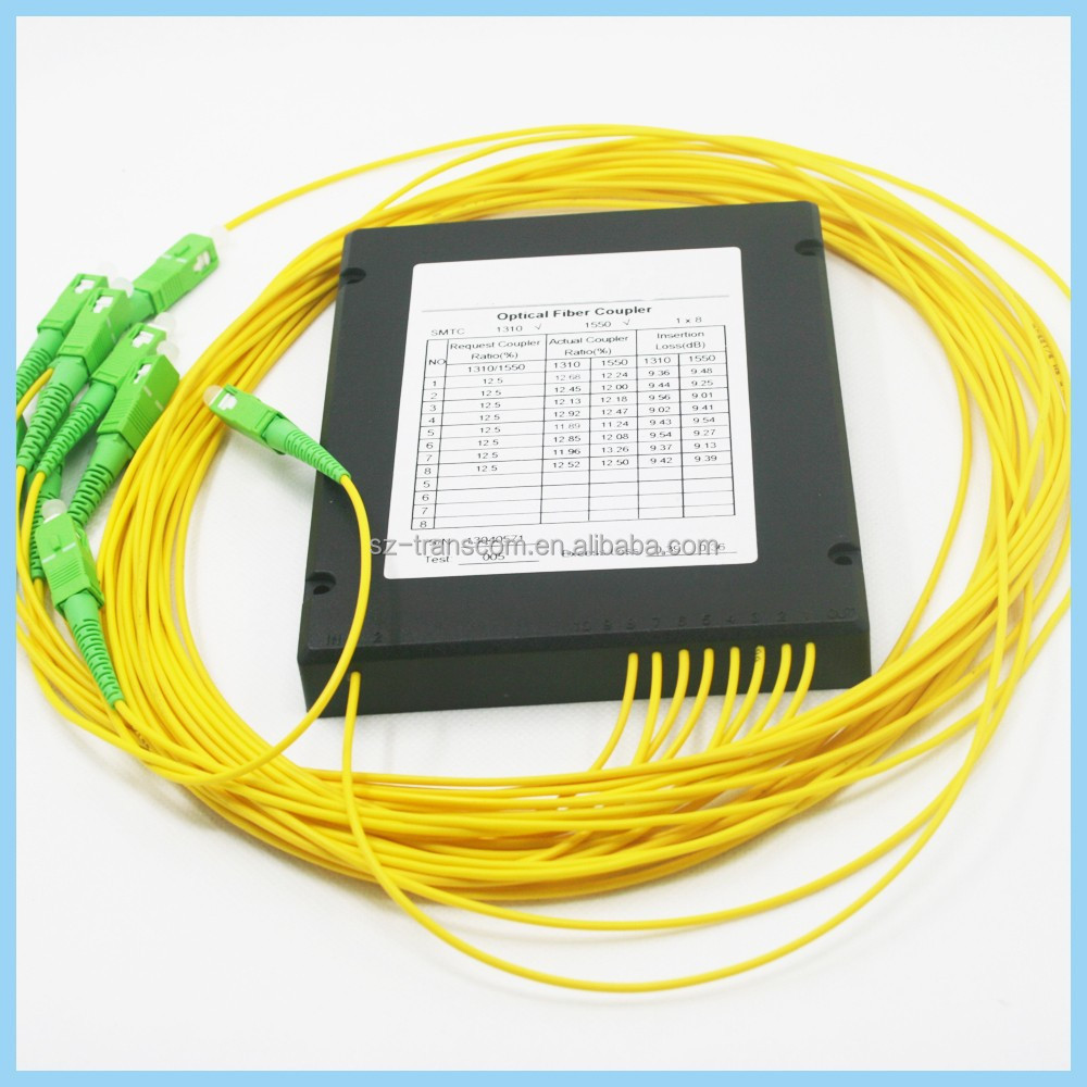 Nice price and high quality plc 1 8 fiber optic splitter with fast delivery / 1 x 8 PLC Splitter in ABS Box Over-wide Wavelength