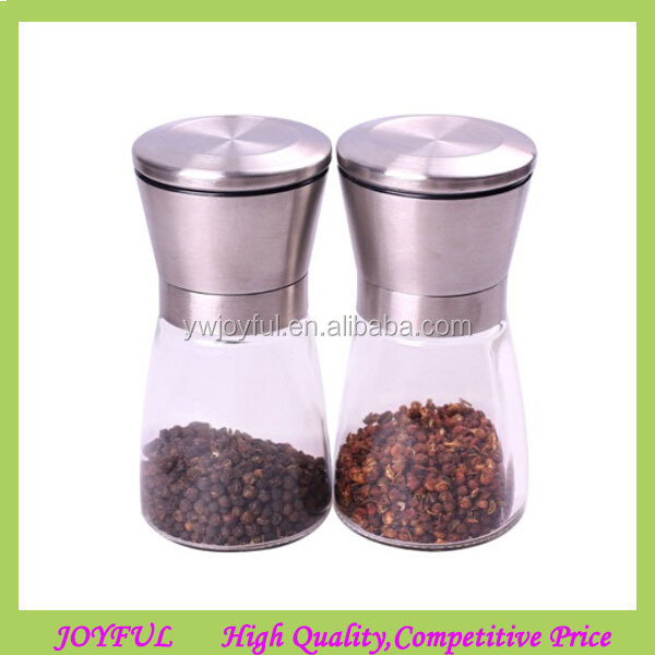 150ML Stainless steel salt and pepper mills set , glass salt and pepper grinder