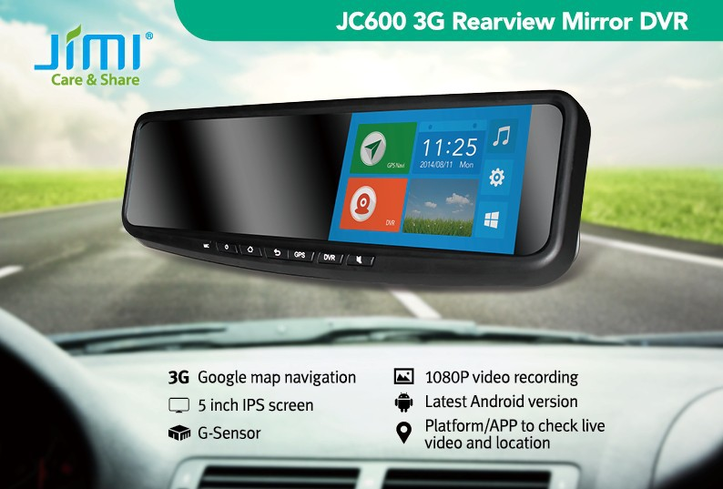 JiMi 2014 Newest 3G Smart Rearview Mirror DVR jc600 android 4.2 car dvd player with gps
