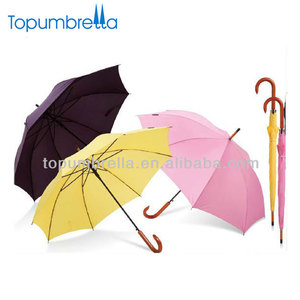 "23"" 8k straight yellow cheap wooden rain umbrella"