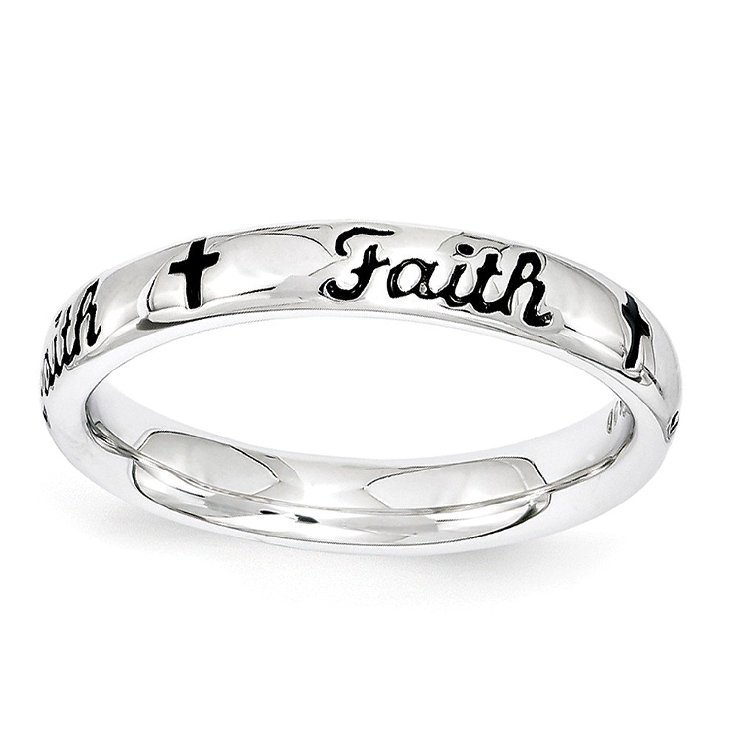 Faith & Cross Polished 3.5mm Band Sterling Silver Stackable Expressions Ring