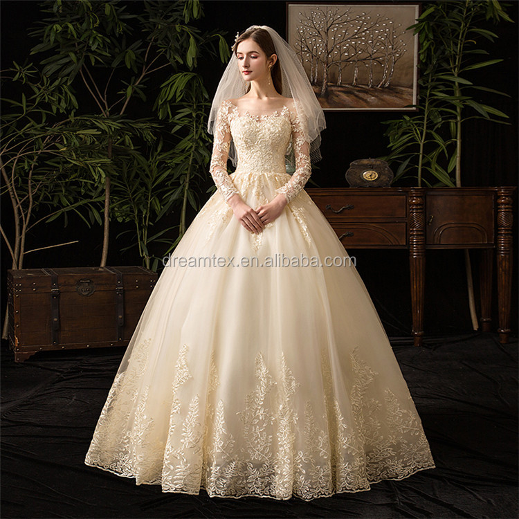 Luxury Champagne Watteau Contracted Bridal Wedding Dress Princess Sweetheart Wedding Dresses
