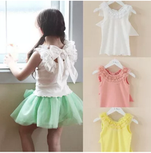 683 2015 new knitted lace collar cotton sleeveless T shirt for Girls