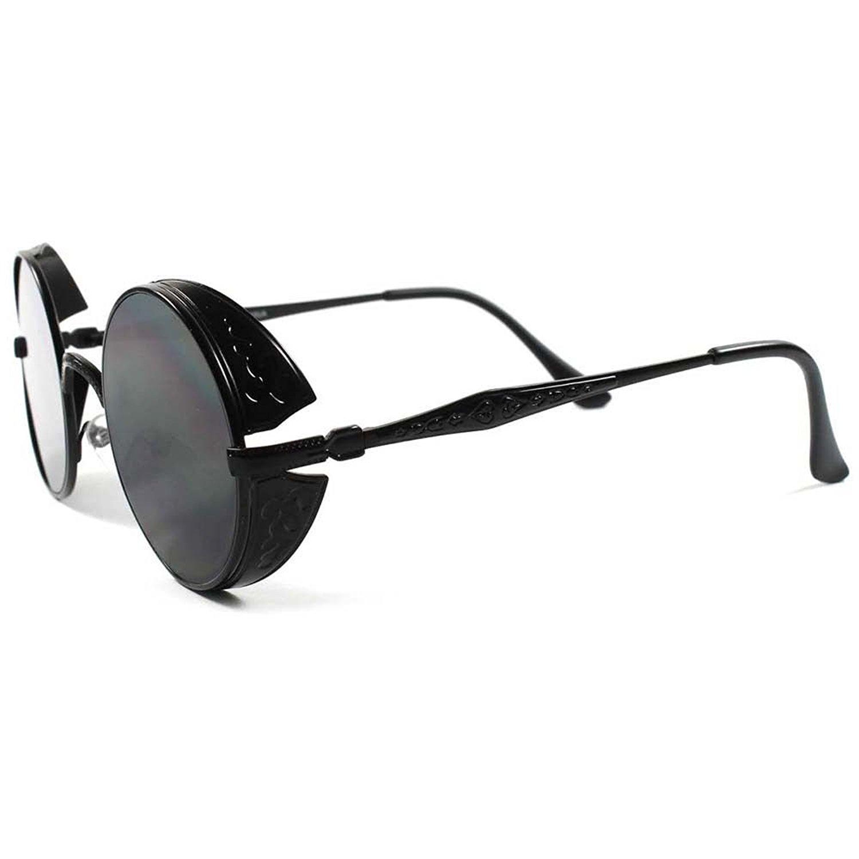 62ae337fc5c Get Quotations · Vintage Retro Side Shields Steampunk Round Sunglasses