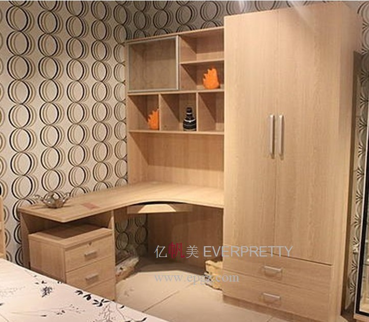 Wood Cheap Study Table And Book Shelf With Wardrobe For Bedroom Furniture